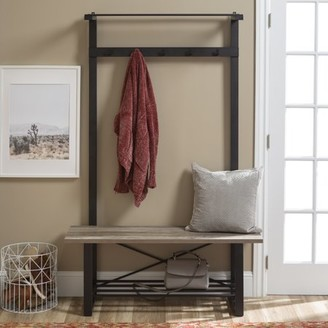 Manor Park Urban Industrial Blend Metal and Wood Coat Rack Storage Hall Tree with Bench - Grey Wash