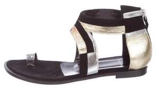 Pierre Hardy Suede Round-Toe Sandals