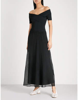 Sandro Off-the-shoulder knitted maxi dress