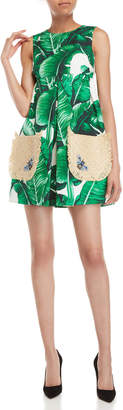 Dolce & Gabbana Banana Leaf Print Straw Pocket Fit & Flare Dress