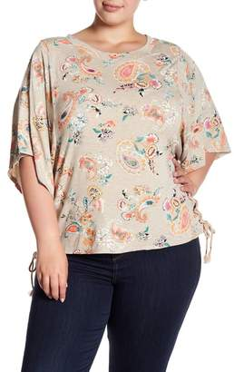 Democracy Lace-Up Side Paisley Tee (Plus Size)