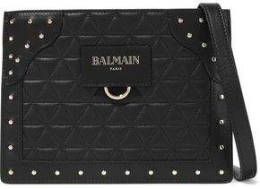 Balmain Studded Quilted Leather Pouch