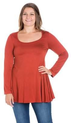 e5fb0e34bd0b27 24/7 Comfort Apparel Women's Plus Size Poised Long Sleeve Swing Plus Size  Tunic Top