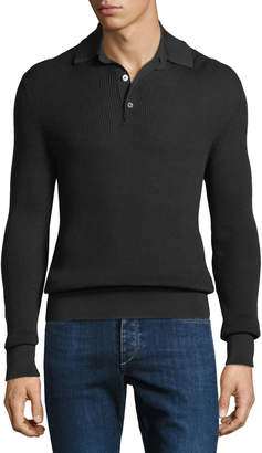 Tom Ford Men's Waffle-Knit Long-Sleeve Polo Shirt