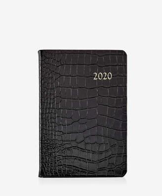 GiGi New York 2020 Daily Journal, Black Crocodile Embossed Leather