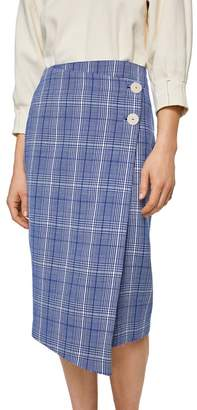 Mango - Blue Checked 'Gigi' Midi Wrap Skirt