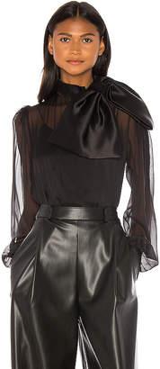 ANOUKI High Neck Drape Front Silk Bow Blouse