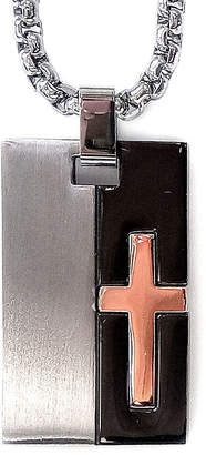 FINE JEWELRY Mens Tri-Tone Stainless Steel Cross Dog Tag Necklace