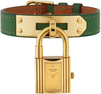 Hermes Estate Kelly Watch w/ Leather, Gold/Green