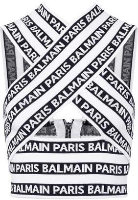 Balmain Jacquard-knit Top - White