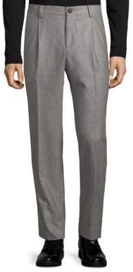 Brunello Cucinelli Single Pleat Wales Wool Pants