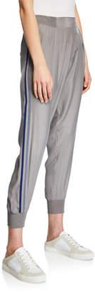 ATM Anthony Thomas Melillo Silk Pull-On Jogger Pants w/ Side Stripes