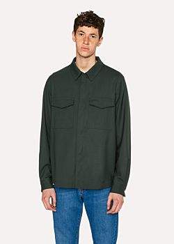 Paul Smith Men's Dark Green Wool Shirt Jacket