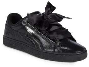 Puma Ribbon Lace-Up Leather Sneakers