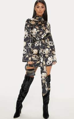 PrettyLittleThing Black Satin High Neck Mixed Chain Print Shift Dress 1fc41ece2
