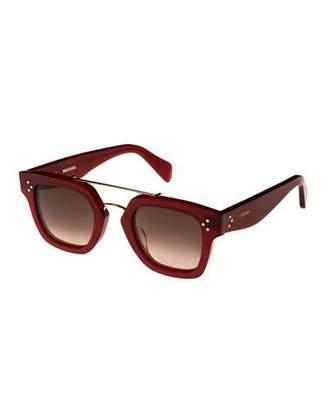 Celine Square Gradient Acetate & Metal Sunglasses, Red Pattern
