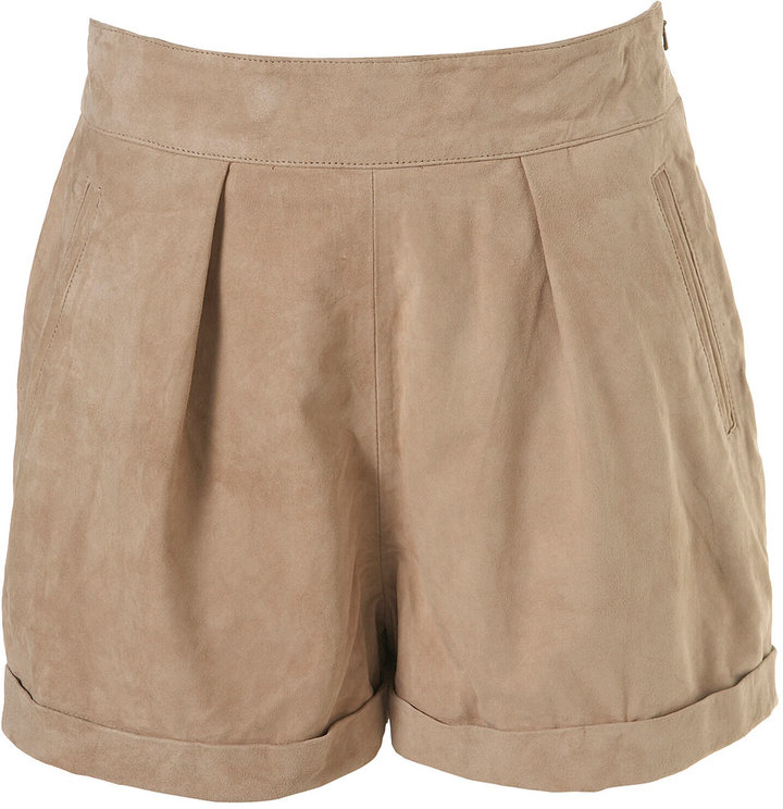 Sand Suede Pleat Shorts