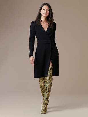 Diane von Furstenberg Long Sleeve A-Line Wrap Dress