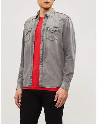 Replay Western-fit faded denim shirt