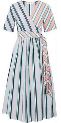 Diane von Furstenberg Paneled Striped Cotton-poplin Midi Wrap Dress