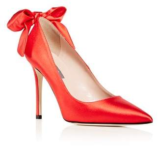 Sarah Jessica Parker Women's Lucille Satin Bow Pointed Toe Pumps