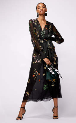 Oscar de la Renta Floral Embroidered Lace Full Sleeve Midi Dress