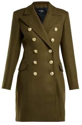 Balmain Double Breasted Wool And Cashmere Blend Coat - Womens - Khaki