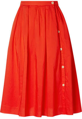 Alex Mill Pleated Cotton-voile Midi Skirt - Red