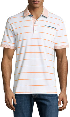 Robert Graham Grover Striped Short-Sleeve Polo Shirt, White $115 thestylecure.com