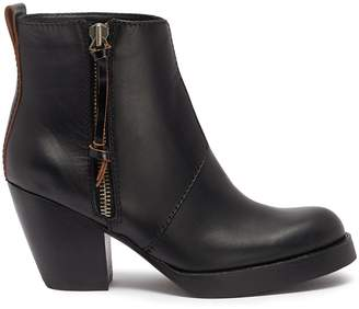 Acne Studios Stacked heel leather ankle boots