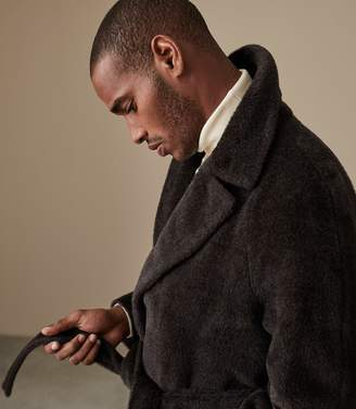 Reiss Our last order date for Christmas has now passed PERRIN WOOL BLEND OVERCOAT Bordeaux/ Brown