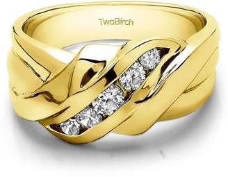 Gents TwoBirch 10k Yellow gold Wedding Ring Diamonds (,I2-I3)(0.25Ct)Size 3 To 15 in 1/4 Size Intervals