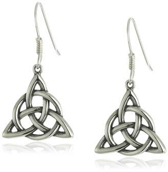 Celtic Amazon Collection 14k Rose Gold Plated Sterling Silver Two Tone Triquetra Trinity Knot Triangle Drop Earrings