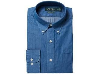 Lauren Ralph Lauren Classic Fit Indigo Cotton Dress Shirt Men's Long Sleeve Button Up