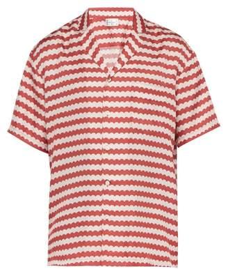 All At Sea - Wave Print Cuban Collar Silk Pyjama Shirt - Mens - Red