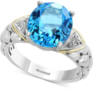 Effy Balissima by Blue Topaz (5-1/2 ct. t.w.) & Diamond Accent Ring in Sterling Silver & 18k Gold