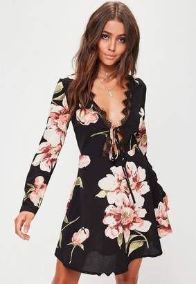 Missguided Black Floral Lace Trim Tea Dress