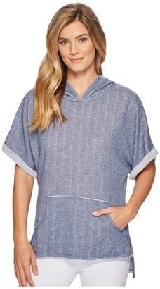Mod-o-doc Pointelle Stripe French Terry Dolman Sleeve Pullover Hoodie Women's Sweatshirt