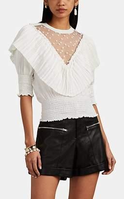 Philosophy di Lorenzo Serafini Women's Pleated-Ruffle Tulle-Inset Jersey Top - White
