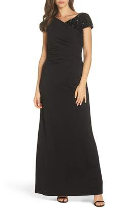 Adrianna Papell Beaded Shoulder Ruched Gown