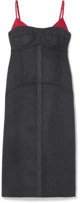 Kenzo Satin Twill-trimmed Wool-blend Midi Dress - Anthracite