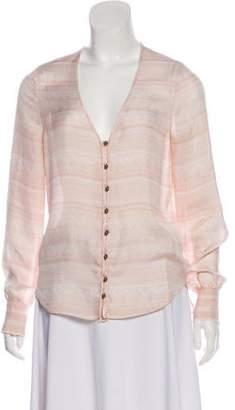 Veronica Beard Printed Button-Up Blouse