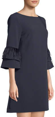 Tahari ASL Crepe Dress with Feather Trim Sleeves