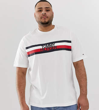 Tommy Hilfiger Big & Tall Chest Icon Stripe Logo T-Shirt in White