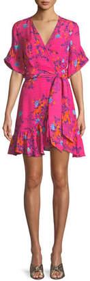 Tanya Taylor Brandy Garden-Print Silk Wrap Mini Dress
