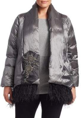 Marina Rinaldi Marina Rinaldi, Plus Size Parco Feather-Trimmed Embellished Jacket