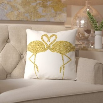Flamingos House of Hampton Peach & Gold Throw Pillow House of Hampton