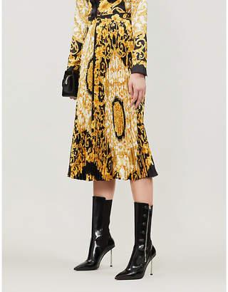 Versace Scarf-print plissé silk midi skirt