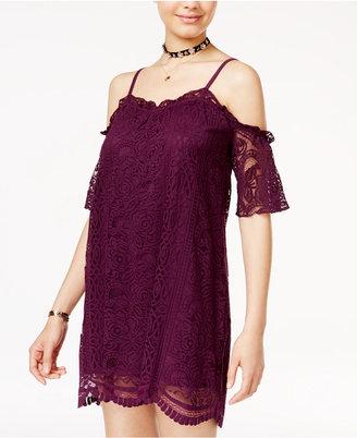 Fire Juniors' Cold-Shoulder Lace Shift Dress $39 thestylecure.com