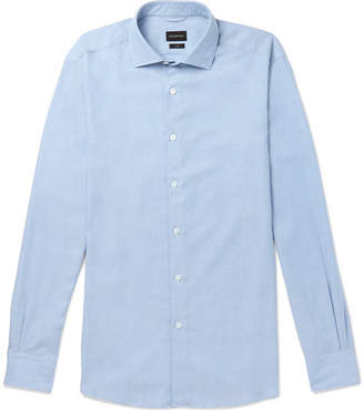 Ermenegildo Zegna Cutaway-Collar Cotton And Cashmere-Blend Shirt